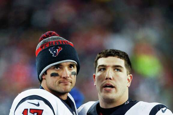 Saturday's loss could be the last game together for Texans quarterback Brock Osweiler (17) and tight end Ryan Griffin, who will be an unrestricted free agent.