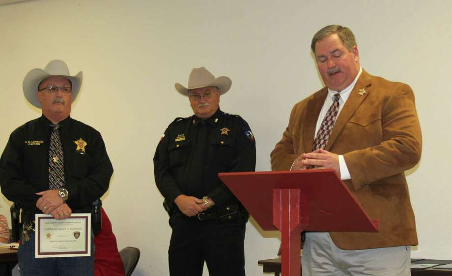 Captain Harley Lovings (left) is one of three law enforcement officers to receive the Sheriff's award for Excellence from Sheriff Greg Capers. Photo: Jacob McAdams