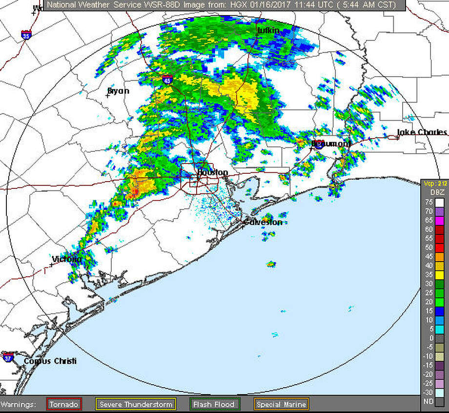 Heavy thunderstorms are expected to rumble through the Houston region Monday, possibly sparking tornadoes in some spots and drenching much of the area. (National Weather Service)