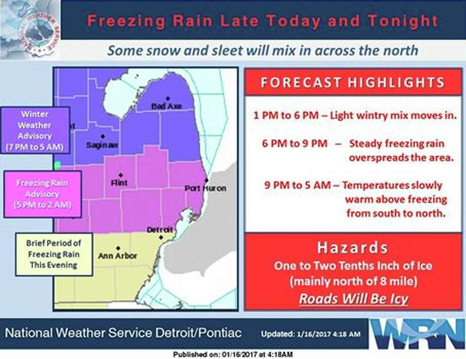 Lingering cold air at the surface will set the stage for  several hours of freezing rain before surface temperatures warm. Photo: National Weather Service, Detroit