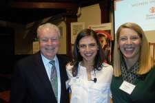 From the left, Fairfield First Selectman Mike Tetreau poses at the Pequot Library with Bianna Golodryga, and finance anchor at Yahoo!, and Carolyn Miles, president and CEO of the international organization Save the Children based in Fairfield.