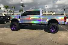 Tire and Wheel Master, based in Houston, is selling a lifted Ford Super Duty 250 that looks like it was designed by Lisa Frank for $100,000.