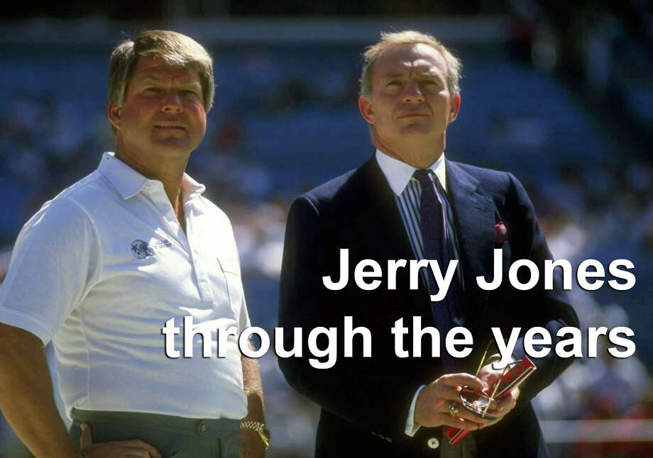 """On Feb. 25, 1989, Jerry Jones dropped $140 million to take over the reins of """"America's Team"""" from H.R. """"Bum"""" Bright. In that time, the Cowboys won three Super Bowls and built a world-renowned $1.2 billion stadium.  Above: Dallas Cowboys head coach Jimmy Johnson (left) and owner Jerry Jones look on during a game against the Atlanta Falcons at Fulton County Stadium in Atlanta, Georgia. Photo: Allen Steele/Getty Images"""