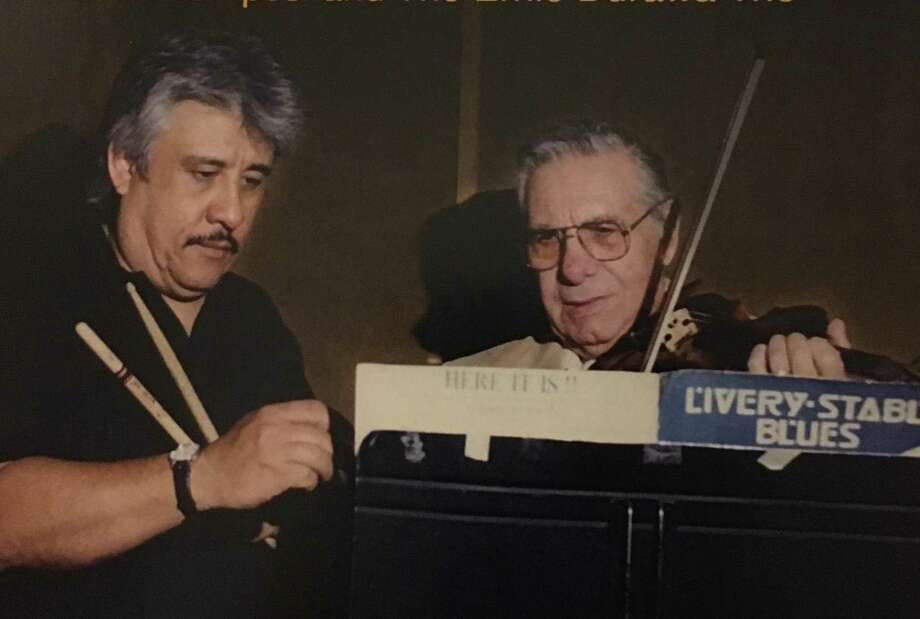 Texas Tornado drummer Ernie Durawa (left) recorded Sebastian Campesi at the jazz violinist's home in the mid-1990s. Campesi died Jan. 13, 2017. Photo: Courtesy / Courtesy