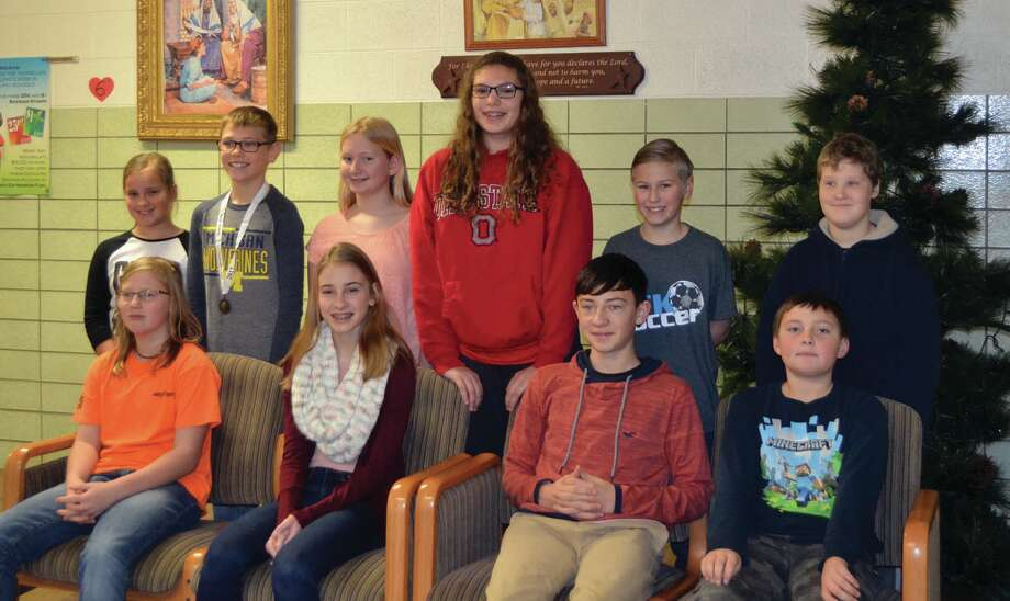 Christ the King Lutheran School geography bee participants are, front row, Brooklyn Kuhl, Isabella Mammel, Chase Payne, and Noah Shelson; back row, Lily Mammel, Carson Holland, Rainey Schuette, Emma Kaiser, Taylor Alderson, and Konnor Olson. (Submitted photo)