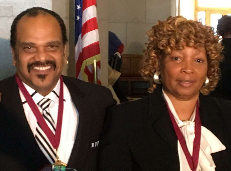 Bobby Ramos, a retired Stratford police officer, and retired Bridgeport Police Sgt. JoeAnn Meekins, were recipients of the annual Let Freedom Ring Awards at the state Capitol in Hartford, Conn. on Monday, Jan. 16, 2017. Photo: Ken Dixon / Hearst Connecticut Media / Connecticut Post