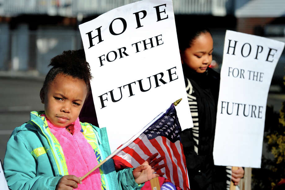 Kayla Smith takes part in the annual march marking Martin Luther King Jr. Day in Bridgeport, Conn. Jan. 16, 2017. Photo: Ned Gerard, Hearst Connecticut Media / Connecticut Post