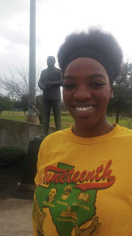 Jawanda Adams, 23, from Arlington and is a criminal justice major at Lamar University, visited the Martin Luther King Jr. Park along College Street on Monday, Jan. 16, 2017, for the first time. Dan Wallach/The Enterprise Photo: Dan Wallach