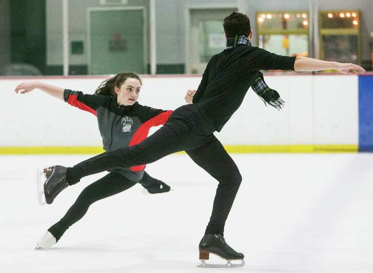 Ice dancers Susan Talbot, 16, of Kingwood, and her partner Ryan O'Donnell, 18, of The Woodlands, train for the upcoming 2017 Prudential U.S. Figure Skating Championships  on Friday, Jan. 6, 2017, in Houston.