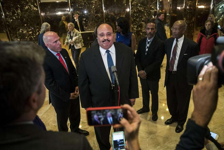 "Martin Luther King III speaks to reporters after his meeting with President-elect Donald Trump at Trump Tower in Manhattan. King described the session as ""constructive."" Photo: Drew Angerer, Getty Images"