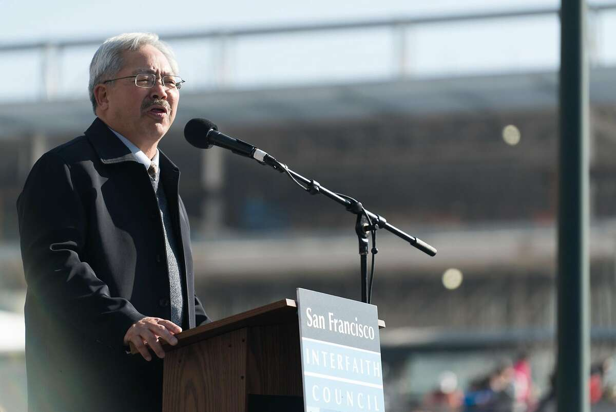 Mayor Ed Lee addresses marchers in Yerba Buena Gardens in San Francisco, Calif. on Monday, Jan. 16, 2016. In honor of Martin Luther King Jr.'s birthday, people marched from 4th and King to Yerba Buena Gardens for an afternoon of speeches and movies.