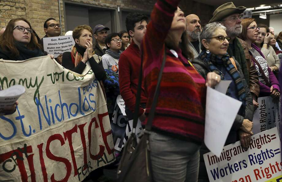 An anti-Trump rally on Saturday at the Chicago Teachers Union featured immigrants and refugees personally recounting their own experiences. Photo: Abel Uribe, Associated Press