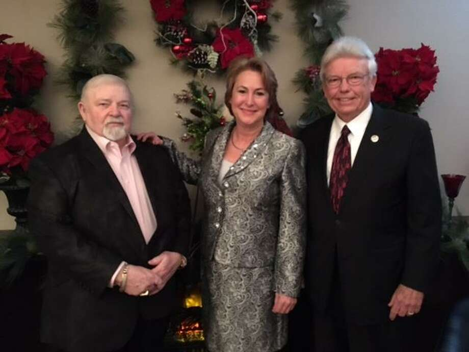 Attorney Frank A. Hale, left, greets Harris County District Attorney-Elect Kim Ogg and Sagemont Church pastor John Morgan at a recent luncheon at Hale's office. Photo: Frank A. Hale
