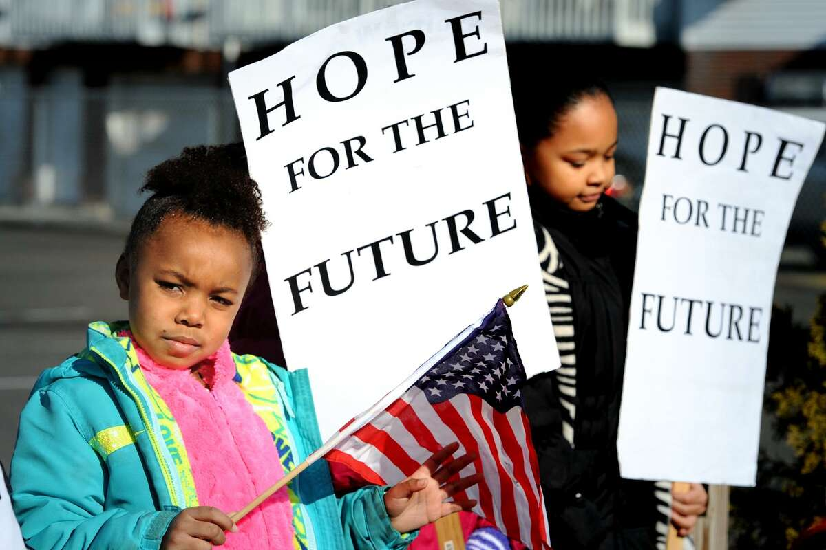 Kayla Smith takes part in the annual march marking Martin Luther King Jr. Day in Bridgeport on Monday.