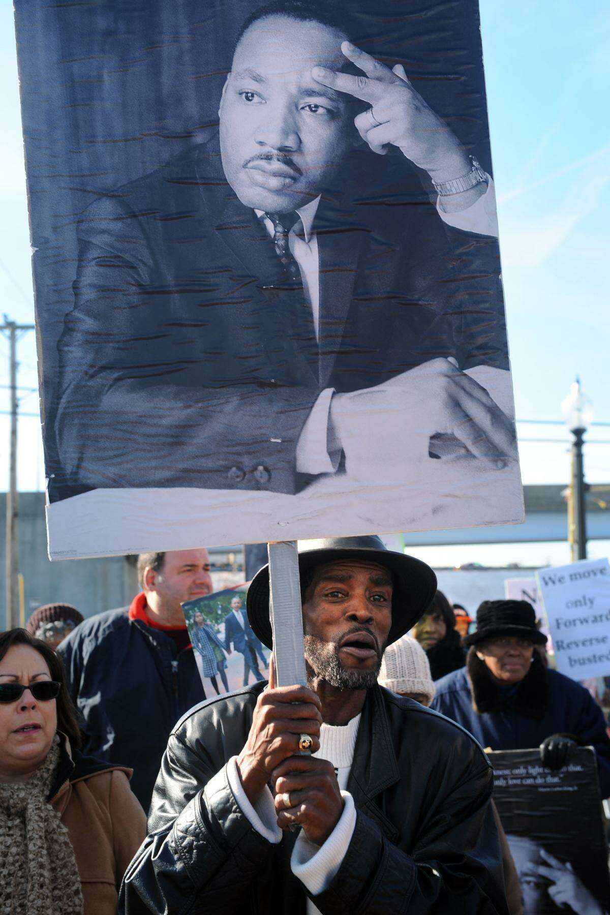 Ernest Newton takes part in the annual march marking Martin Luther King Jr. Day in Bridgeport, Conn. Jan. 16, 2017.