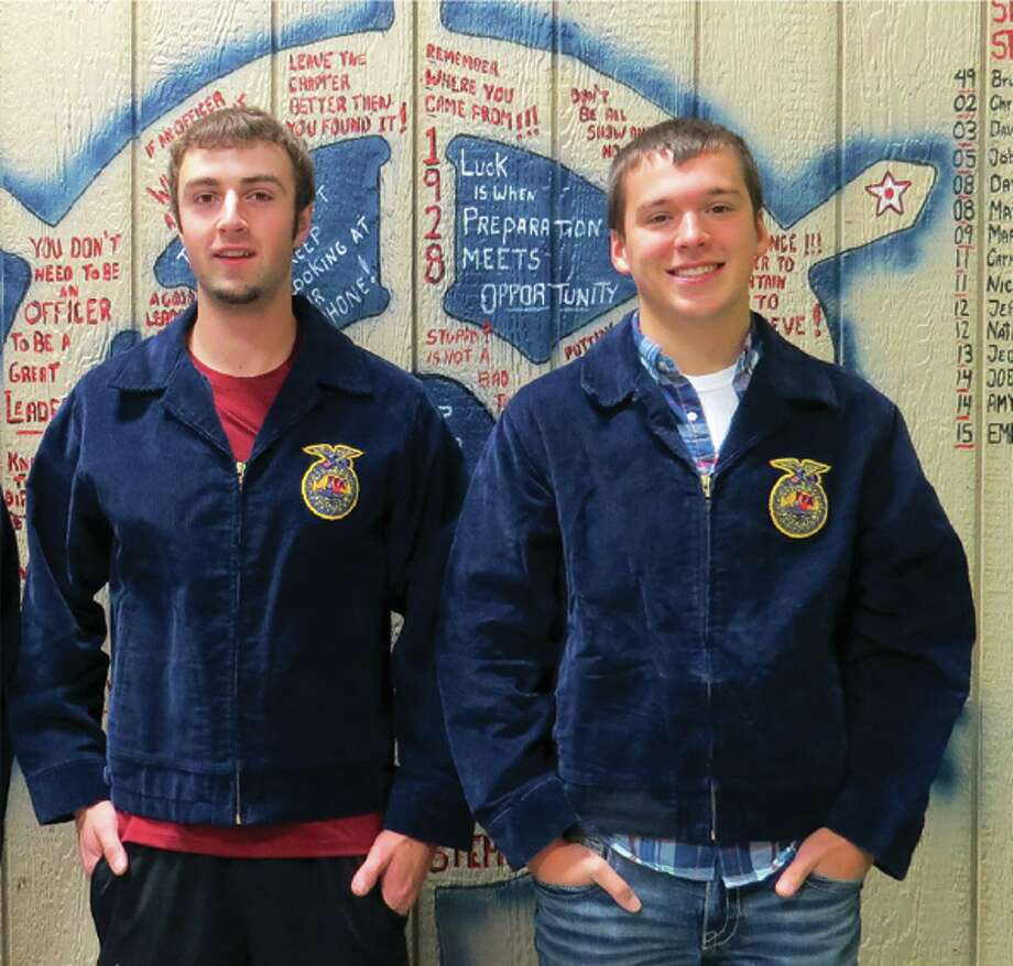 From left, Aaron Maust and Jake Bushey are finalists for the FFA Star Farmer in Agricultural Placement, a prestigious state-level recognition. Only three finalists are chosen statewide. (Submitted Photo)