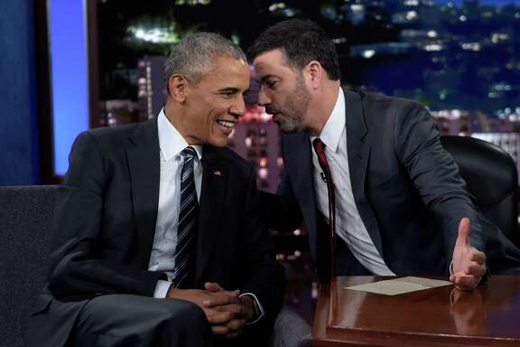 "President Barack Obama, left, took time to read tweets with talk-show host Jimmy Kimmel during a ""Mean Tweets"" segment of ""Jimmy Kimmel Live."""