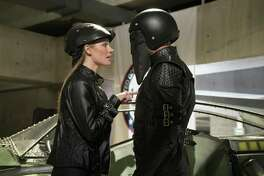 "Manu Bennett and Marci Miller star in ""Death Race 2050."""