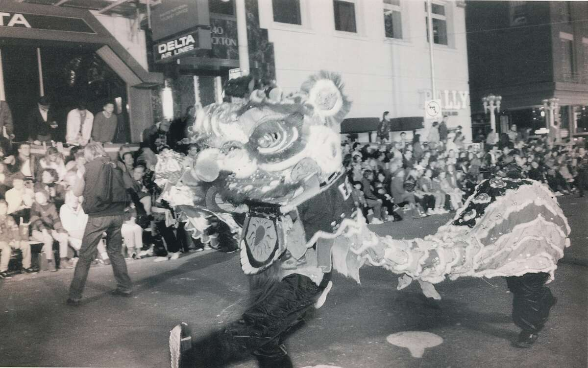 February 6, 1993: Lion dances during the Chinese New Year Parade, San Francisco Chinatown, Kearney Street, between Post and Pacific.