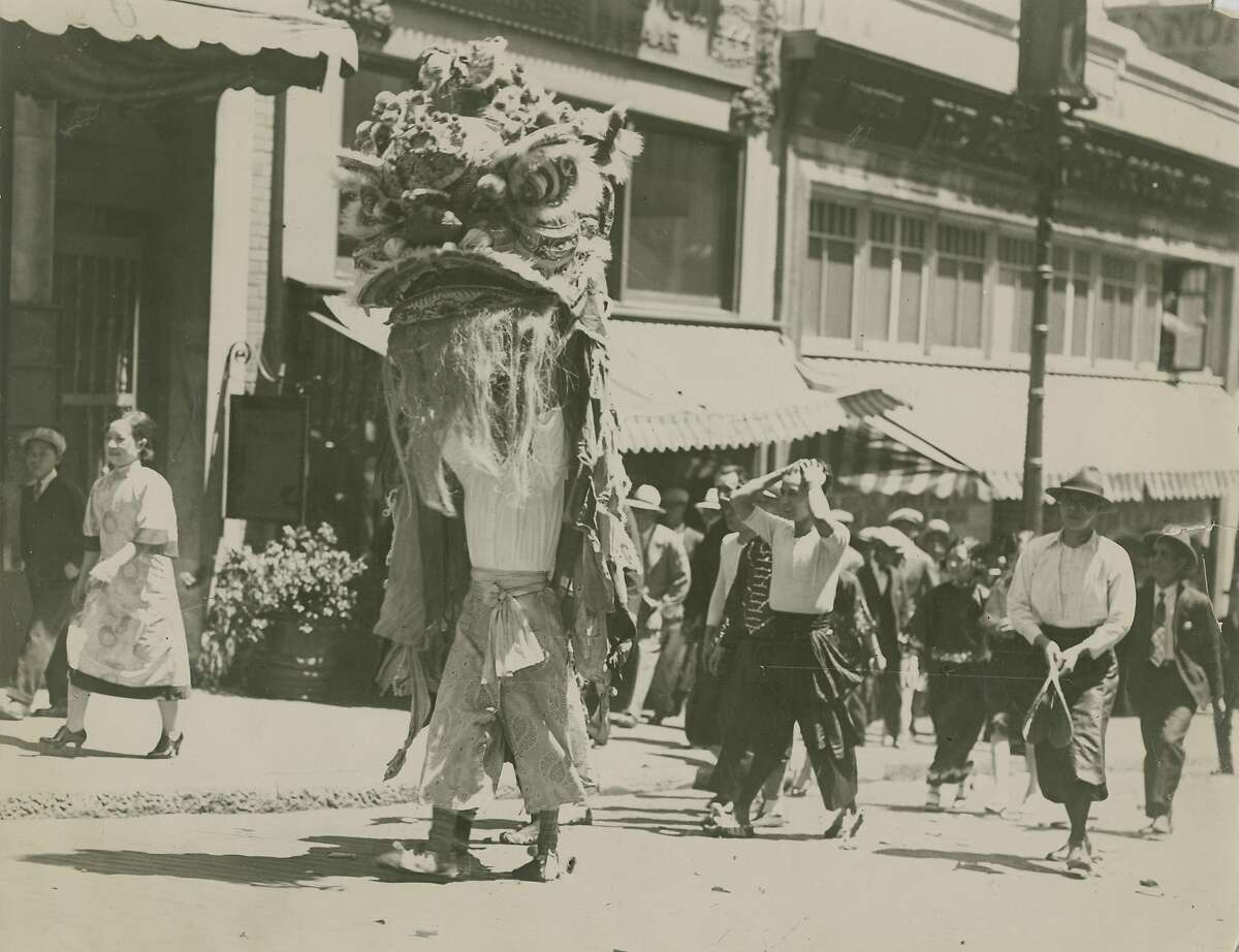 Very early, undated photo showing celebration of the Chinese New Year in San Francisco, ca. 1920's.