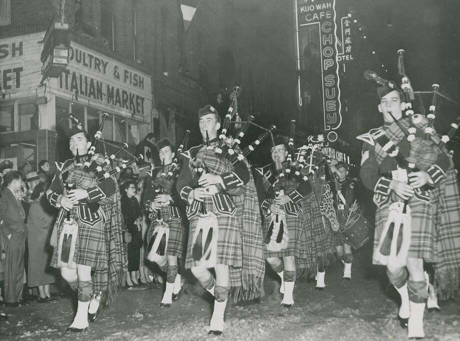 February 22, 1953: 6th Army Pipers Band performs at the San Francisco Chinese New Year Parade. Photo: Joe Rosenthal / The Chronicle 1953