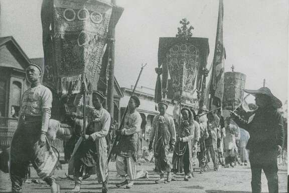 Very early, undated photo shows the San Francisco Chinese New Year Parade.