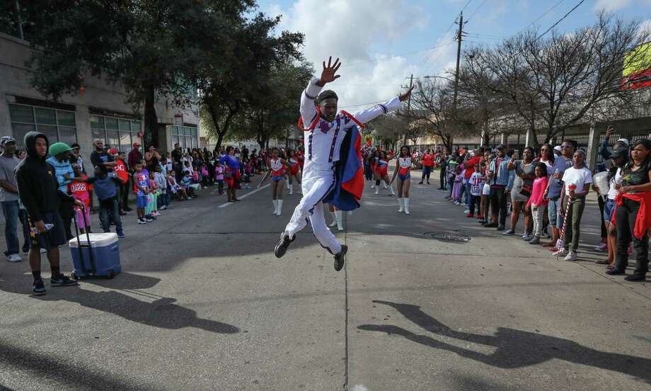 Kashmere High School Sr., Zach Johnson performs along the route of The 23rd Annual MLK Grande Parade Monday, Jan. 16, 2017, in Houston. The parade consists of 15 Parade floats and 30 Marching bands. Photo: Steve Gonzales, Houston Chronicle / © 2017 Houston Chronicle