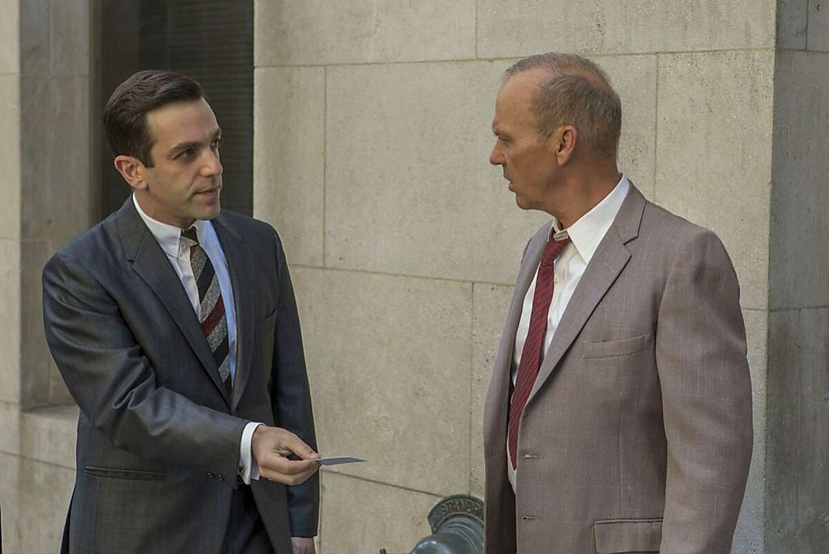 This image released by The Weinstein Company shows B.J. Novak, left, and Michael Keaton in a scene from,