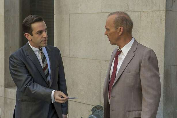"This image released by The Weinstein Company shows B.J. Novak, left, and Michael Keaton in a scene from, ""The Founder."" (Daniel McFadden/The Weinstein Company via AP)"