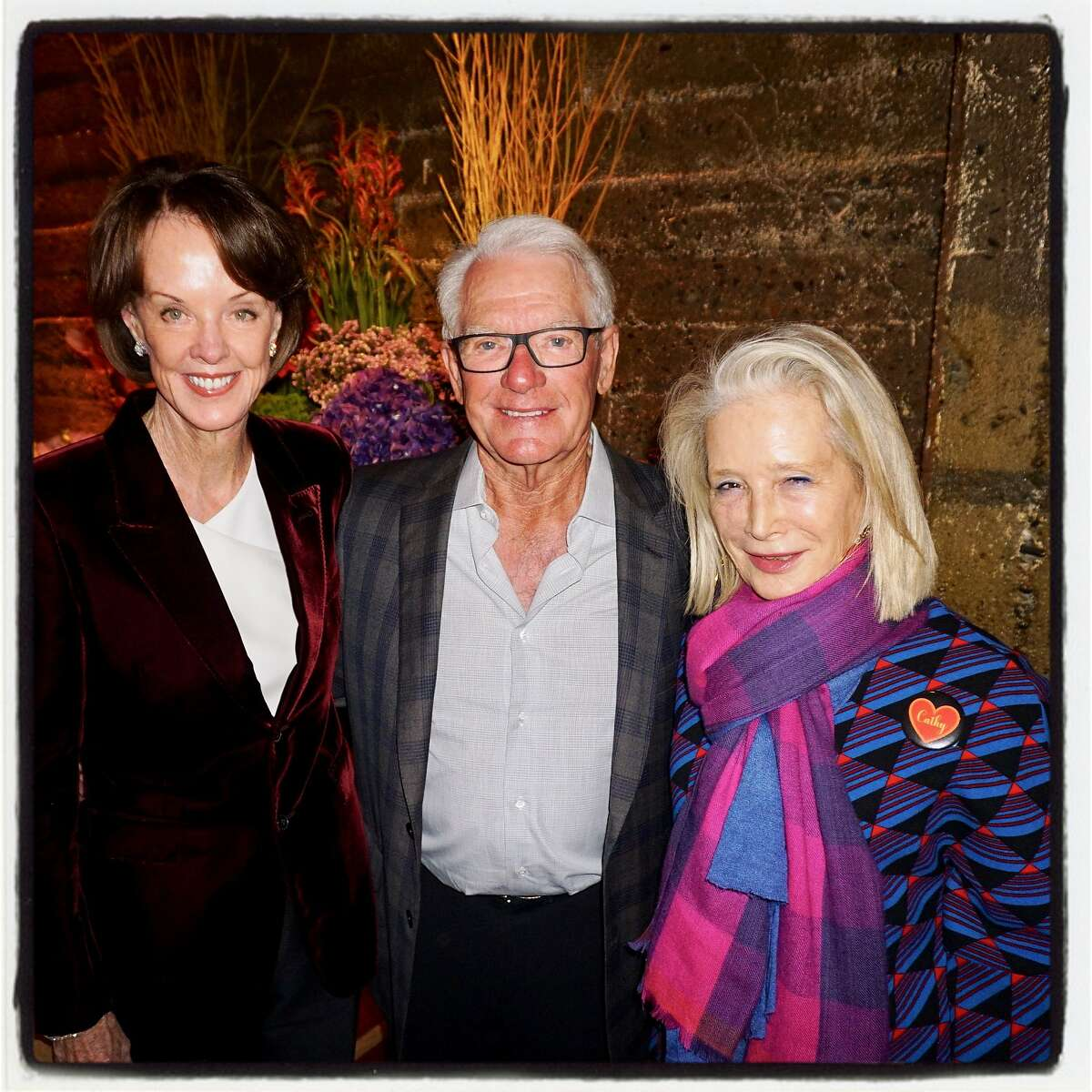 Helen (left) and Chuck Schwab with Fog honorary chair Mimi Haas at the benefactor party she hosted at the Stanlee Gatti Atelier in January 2017.