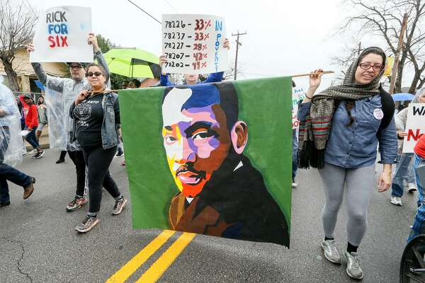 MLK March: For more than half a century, tens of thousands of San Antonio residents have gathered on the East Side to honor the legacy of Martin Luther King Jr., making the city's MLK March one of the nation's largest marking the slain civil rights leader's birthday. At the end of the 2.75-mile route from MLK Academy to Pittman-Sullivan Park this year, a commemorative program will feature keynote speaker Shaun King, a journalist and civil rights activist. Worship program at 8 a.m. Monday at MLK Academy, 3501 MLK Drive. March at 10 a.m. at MLK Academy; proceeds west to the park, 1011 Iowa St. Commemorative program starts at 11:30 a.m. Free VIA bus service available; go to viainfo.net. More MLK/Dream Week events at sanantonio.gov/mlk - Jim Kiest