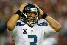 Russell Wilson of the Seattle Seahawks reacts against the Atlanta Falcons at the Georgia Dome on January 14, 2017 in Atlanta, Georgia.  (Photo by Kevin C. Cox/Getty Images)