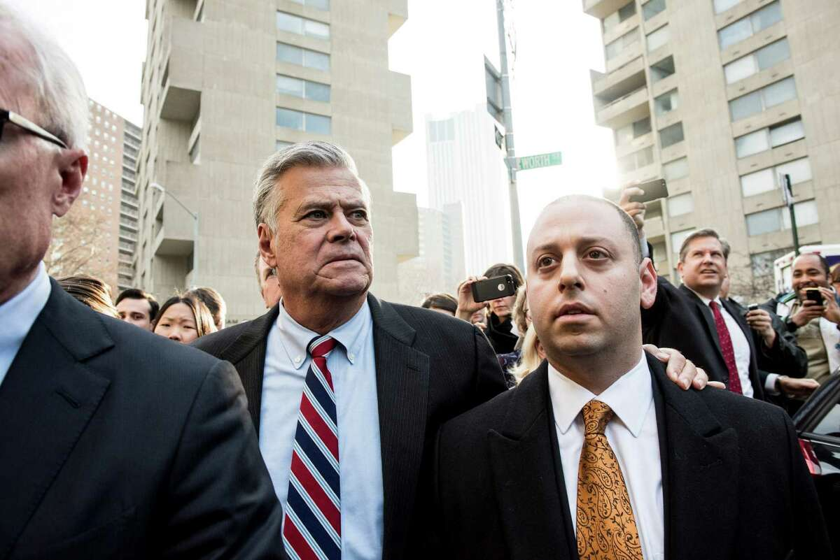 FILE -- Dean Skelos, and his son Adam Skelos, leave Manhattan Federal Court after being found guilty on all counts of corruption charges in New York, Dec. 11, 2015. (Andrew Renneisen/The New York Times)