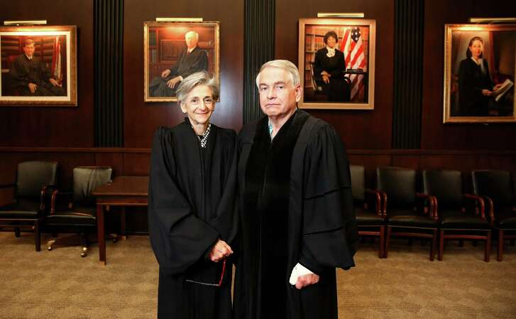 Chief Judge of the United States District Court for the Southern District of Texas Lee H. Rosenthal and United States District Judge Keith P. Ellison for the Southern District of Texas pose for a portrait in Judge Rosenthal's courtroom Friday, Dec. 16, 2016, in Houston. The Southern District of Texas has two judge vacancies and no nominations, therefore, Judge Ellison has been traveling to southern Texas to hear cases. ( Yi-Chin Lee / Houston Chronicle )