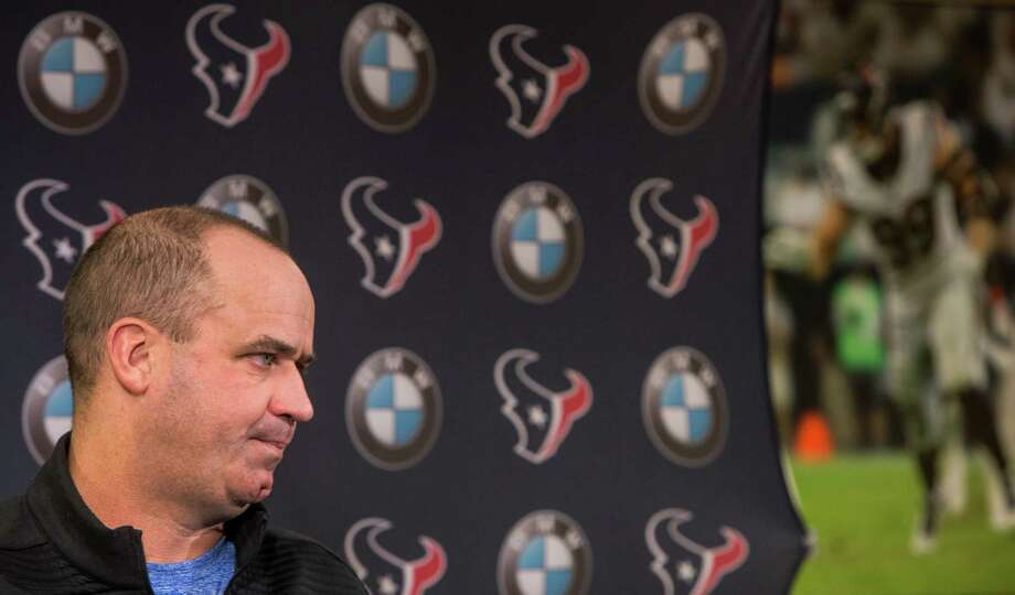 Coach Bill O'Brien speaks during a news conference Monday. O'Brien reiterated the team must keep defensive coordinator Romeo Crennel. Photo: Brett Coomer, Staff / © 2017 Houston Chronicle