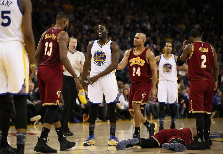 OAKLAND, CA - JANUARY 16:  Draymond Green #23 of the Golden State Warriors reacts after he fouled LeBron James #23 of the Cleveland Cavaliers at ORACLE Arena on January 16, 2017 in Oakland, California. NOTE TO USER: User expressly acknowledges and agrees that, by downloading and or using this photograph, User is consenting to the terms and conditions of the Getty Images License Agreement.  (Photo by Ezra Shaw/Getty Images)