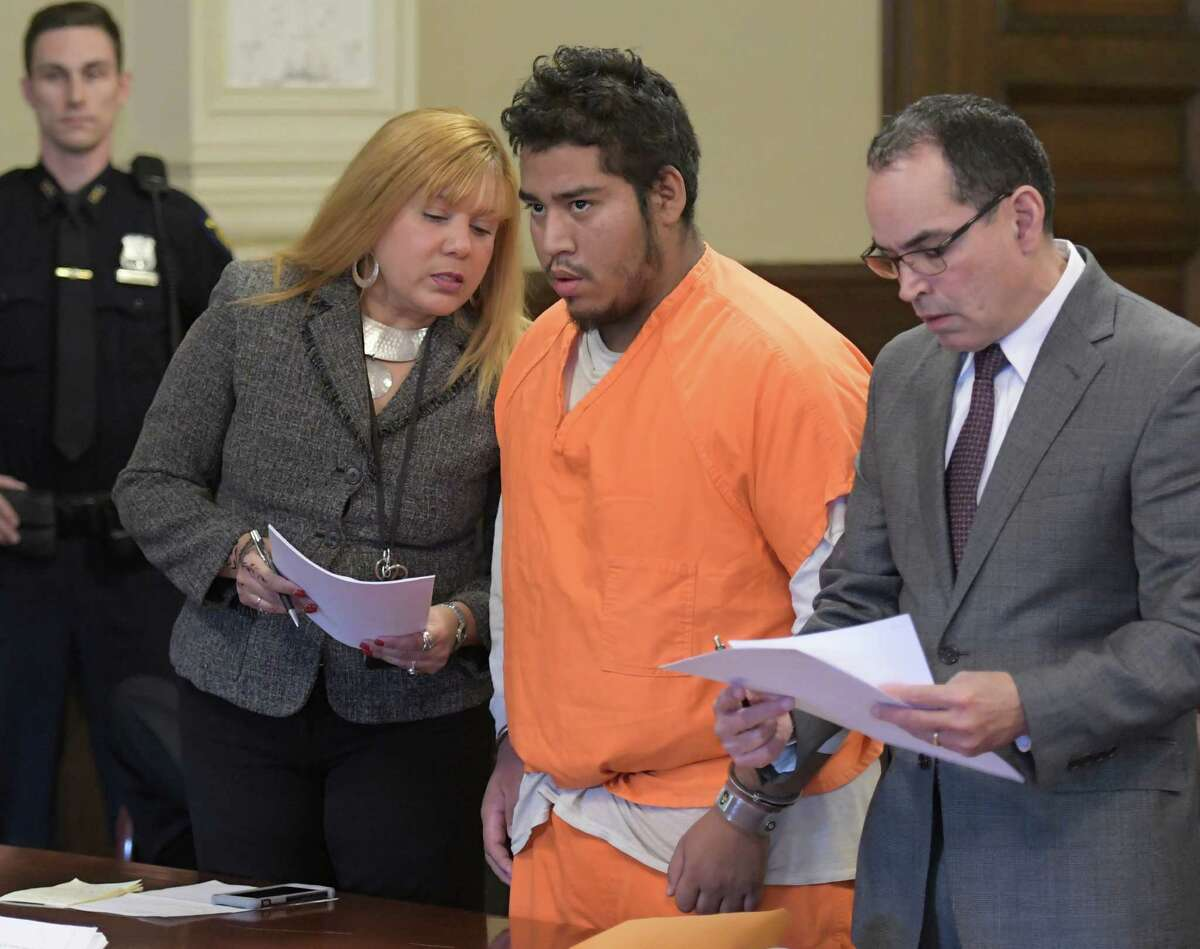 Murder suspect Luis A. Monge Guevara, 20, of Clifton Park, center, appears for his arraignment in Rensselaer County Court on Wednesday, Nov. 23, 2016, in Troy, N.Y. (Skip Dickstein/Times Union)