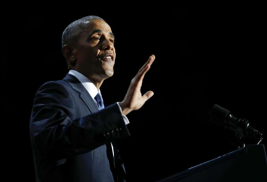 In this Jan. 10, photo, President Barack Obama speaks during his farewell address at McCormick Place in Chicago. The day before, he recognized 102 scientists and researchers for their work. Photo: Pablo Martinez Monsivais, Associated Press