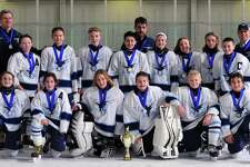 The Northwestern Icehawks Peewee B hockey team recently won the championship in their division at the Jingle Bell Skate tournament this past weekend in Marlborough, Mass. Pictured above, from left to right, are Charleigh Newman, Avery Trach, Jonas Veleas, Dino Capilupi, Ronan McKay and Bobby Labonia; second row, Connor Ross, Thomas Vailionis, Elliott Schemm, Graham Mitchell, Amanda Quinn, Morgan Gallagher, Peyton Nash and Blake Stephens; and in back, coaches Tom Vailionis, George Trach and Ron Stephens.