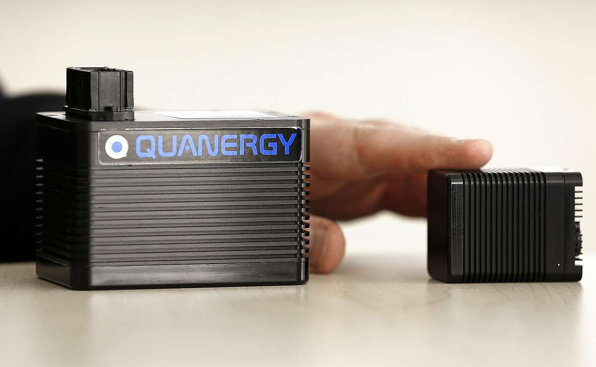Co-founder and CEO Louay Eldada, Ph.D., of Quanergy Systems shows the lidar on Monday, January 16, 2017 in Sunnyvale, Calif. Lidar sensors fire out laser pulses to determine how far away objects are, generating a 3-D view of the world around them.