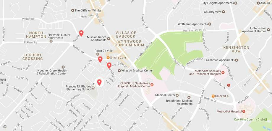 The San Antonio police department said they've received numerous reports of a man, possibly armed with a knife, threatening and assaulting women in the Medical Center area. The apartments pinpointed in this map were listed in a Facebook post advising residents of the threat (see next slide). Photo: Google Maps