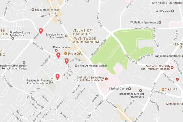 The San Antonio police department said they've received numerous reports of a man, possibly armed with a knife, threatening and assaulting women in the Medical Center area. The apartments pinpointed in this map were listed in a Facebook post advising residents of the threat.