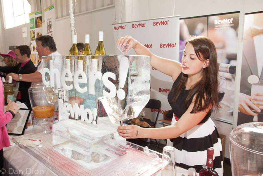 Ice sculpture and cocktail chilling funnel at sponsor BevMo's booth at the SF Chronicle Wine Competition Public Tasting at Fort Mason in 2016. Photo: Dan Dion- Special To The Chronic / ONLINE_CHECK