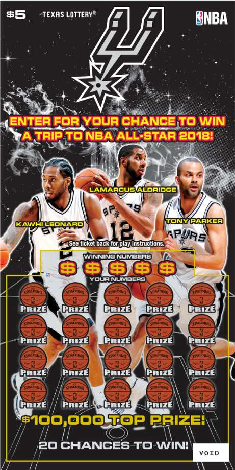 The Texas Lottery has partnered with the San Antonio Spurs to bring basketball fans a new $5 scratch ticket that offers more than $10.2 million in total prizes, three top prizes of $100,000 and a chance to win a trip for two to NBA All-Star 2018. The scratch ticket is available now at licensed Texas Lottery® retail locations. Photo: Texas Lottery