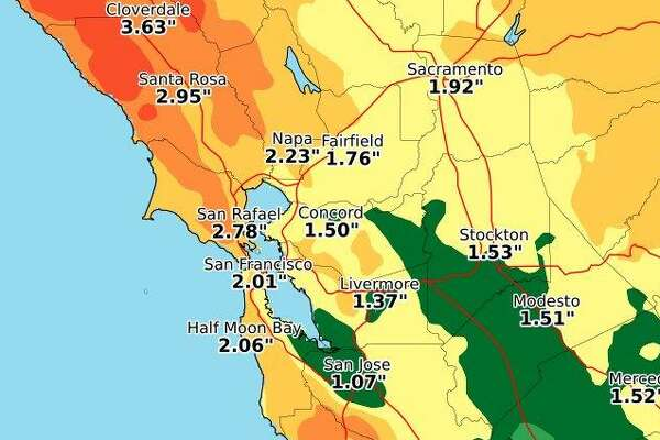 National Weather Service graphic shows the amounts of rain expected in the Bay Area and throughout Northern California from about 4 a.m. Wednesday to 10 p.m. Sunday.