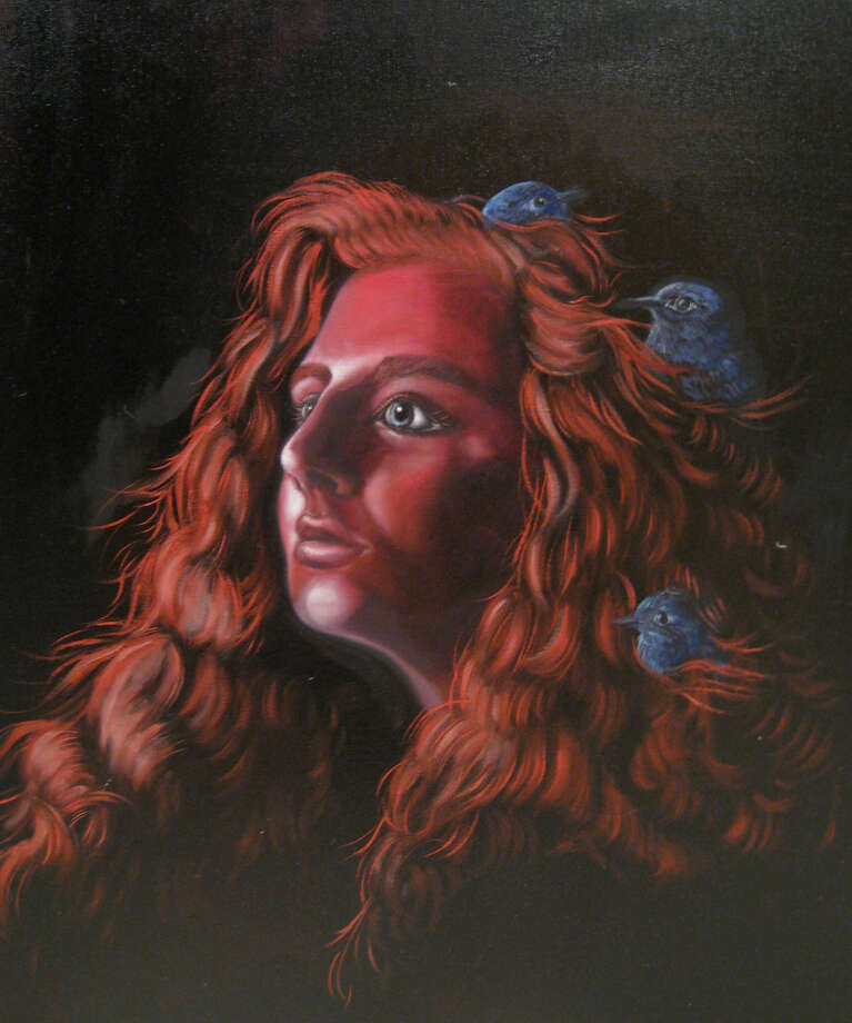 """A photo of an oil/acrylic portrait painting by Ava Bramblett titled """"Cinderella,"""" which won the top award (First Prize) at the Jan, 14 Conroe Art League Student Scholarship art competition."""