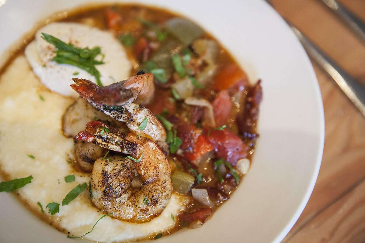 Parish Cafe Shrimp and Grits, Saturday January, 07 2017 in Healdsburg, CA. (Peter DaSilva Special to the Chronicle)
