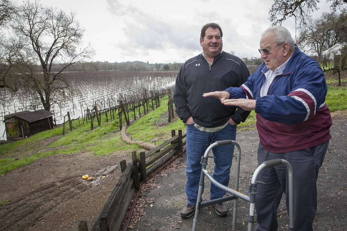 Joe Rochioli and his son Tom at an over look to some of the Rochioli winery vineyards, Monday January, 09 2017 in Healdsburg, CA. (Peter DaSilva Special to the Chronicle)