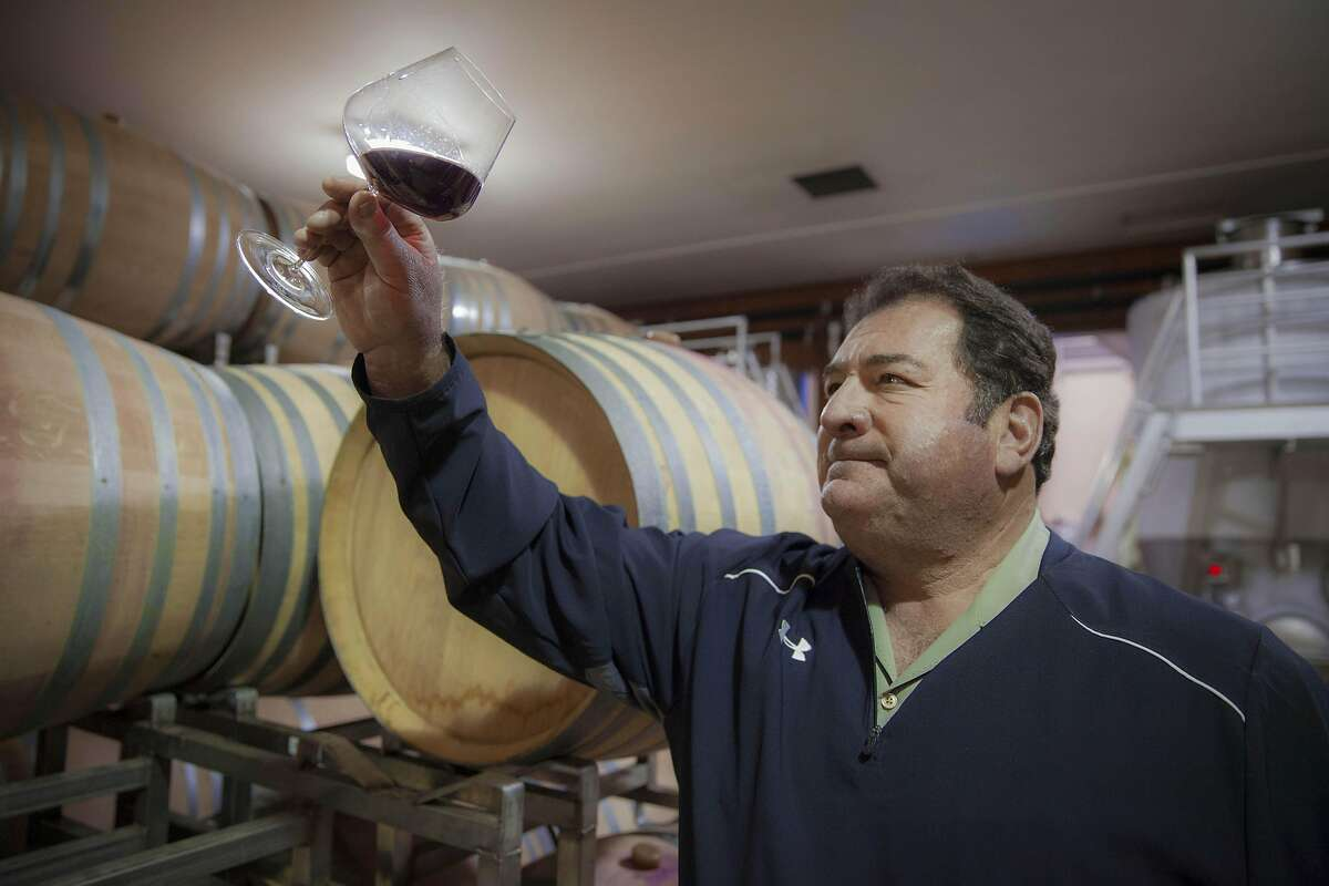 Tom Rochioli theifing barrels at Rochioli winery, Monday January, 09 2017 in Healdsburg, CA. (Peter DaSilva Special to the Chronicle)