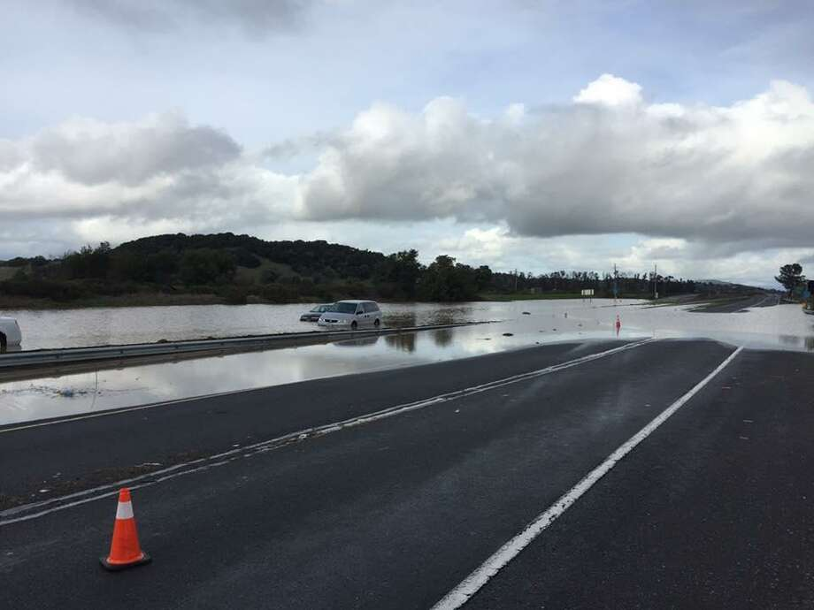 Highway 37 as seen following its closure due to flooding earlier in the month. Photo: California Highway Patrol / California Highway Patrol
